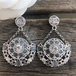 Chanel Crystal Art Deco CC Drop Statement Earrings
